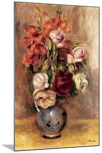 Vase of Gladiolas and Roses-Pierre-Auguste Renoir-Mounted Poster