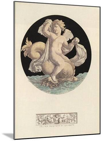 Cherub Playing with Dolphin I--Mounted Art Print