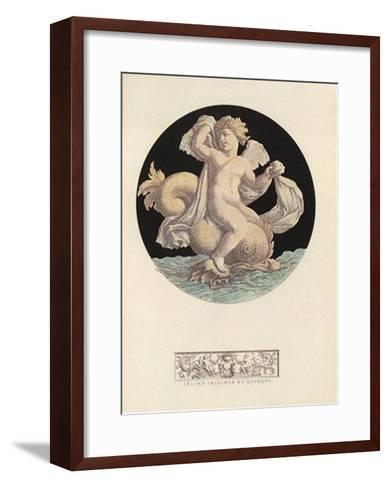 Cherub Playing with Dolphin I--Framed Art Print