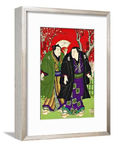 Sumo Wrestlers Strolling Under Cherry Blossoms--Framed Art Print