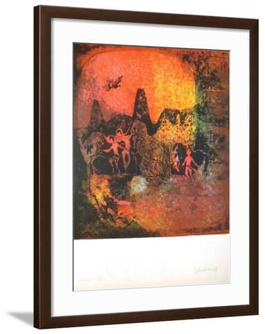 Chevaux au Crepuscule I-Lebadang-Framed Art Print