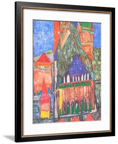 Cathedral No. I, Marrakesch-Friedensreich Hundertwasser-Framed Art Print