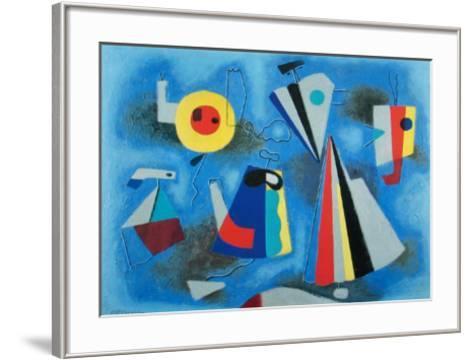 Shapes on Blue-Willi Baumeister-Framed Art Print