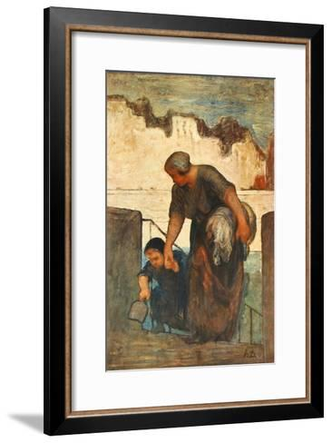 The Laundress-Honore Daumier-Framed Art Print