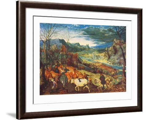 Autumn, The Homecoming of the Herd-Pieter Bruegel the Elder-Framed Art Print