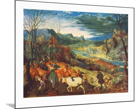 Autumn, The Homecoming of the Herd-Pieter Bruegel the Elder-Mounted Collectable Print