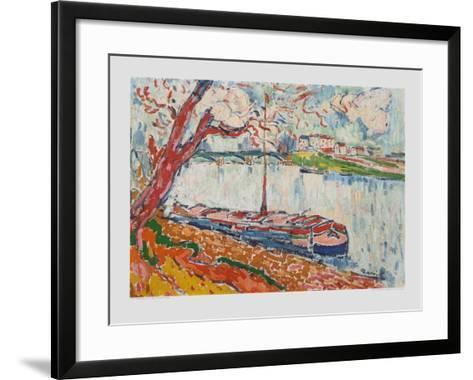 Freighter on the Seine at Chatou-Maurice de Vlaminck-Framed Art Print