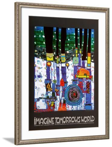 Imagine Tomorrows World (blue)-Friedensreich Hundertwasser-Framed Art Print