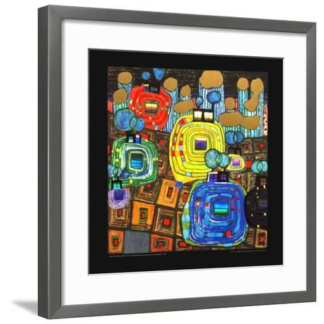 Pavilions and Bungalows for Natives and Foreigners-Friedensreich Hundertwasser-Framed Art Print