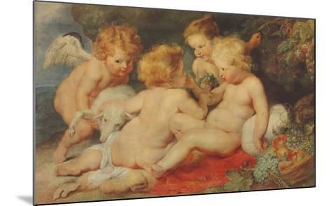 The Christ Child, St.John and Angels-Peter Paul Rubens-Mounted Collectable Print