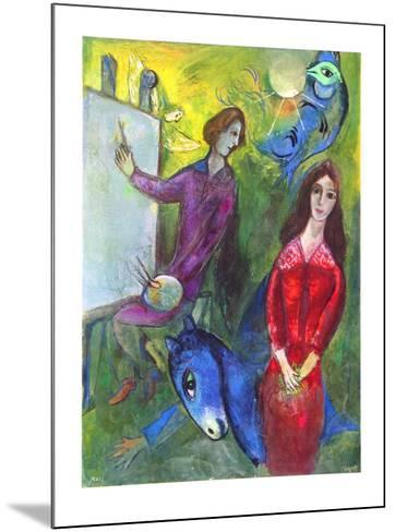 The Artist and His Model-Marc Chagall-Mounted Collectable Print