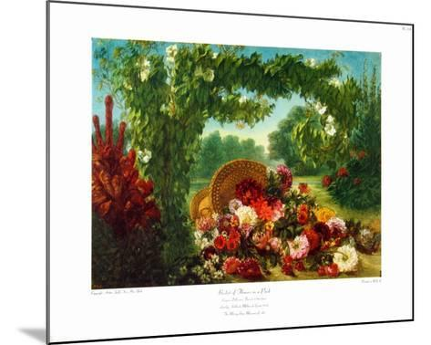 Floral Basket in a Park-Eugene Delacroix-Mounted Collectable Print