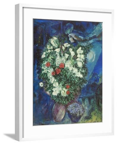 Bouquet with Flying Lovers-Marc Chagall-Framed Art Print