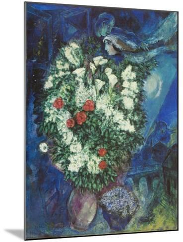 Bouquet with Flying Lovers-Marc Chagall-Mounted Art Print