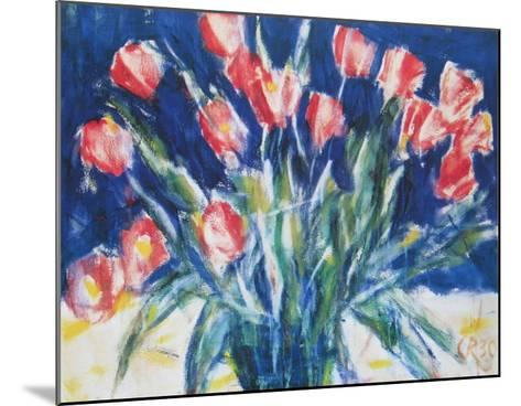 Red Tulips on Blue, 1930-Christian Rohlfs-Mounted Art Print