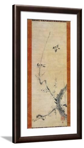Sparrows and Plum Tree-Kaoo Soozen-Framed Art Print