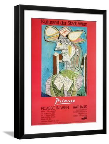 Woman with a Hat on Blue-Pablo Picasso-Framed Art Print