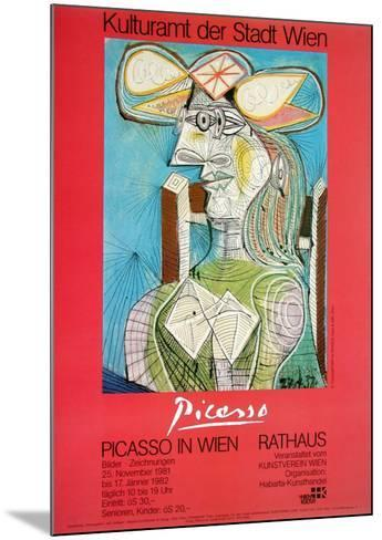 Woman with a Hat on Blue-Pablo Picasso-Mounted Art Print