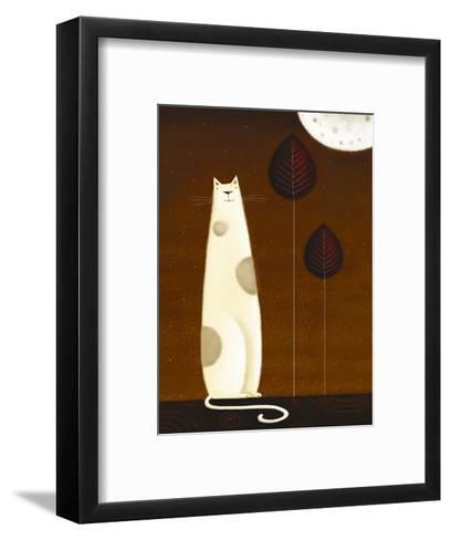Feline and Two Leaves-Jo Parry-Framed Art Print