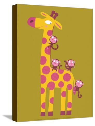 The Giraffe and the Monkeys-Nathalie Choux-Stretched Canvas Print