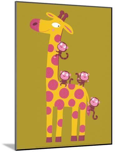 The Giraffe and the Monkeys-Nathalie Choux-Mounted Art Print