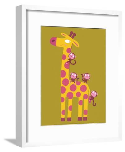The Giraffe and the Monkeys-Nathalie Choux-Framed Art Print