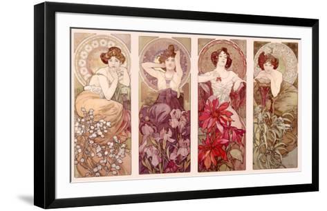 Precious Stones and Flowers-Alphonse Mucha-Framed Art Print