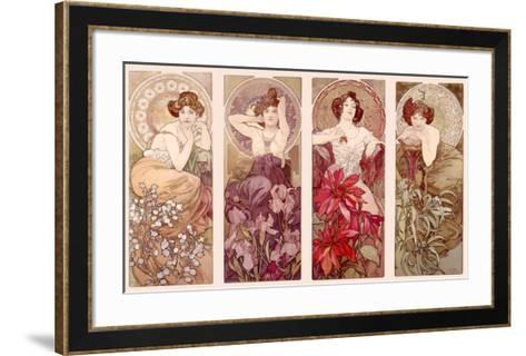 Precious Stones and Flowers-Alphonse Mucha-Framed Art Print