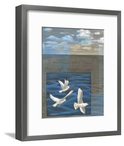 Three White Gulls I-Tara Friel-Framed Art Print