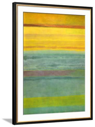 Layered Yellow and Green Abstract-Marie C^ Wattin-Framed Art Print