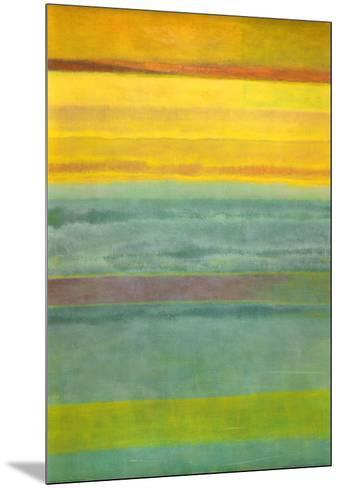 Layered Yellow and Green Abstract-Marie C^ Wattin-Mounted Art Print