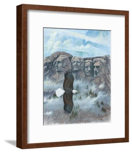 Eagle over Mount Rushmore--Framed Art Print