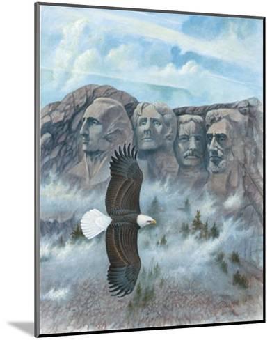 Eagle over Mount Rushmore--Mounted Art Print