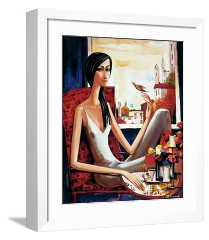 Girl and Bird-Shana-Framed Art Print