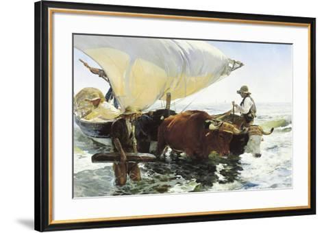 Retorno de la Pesca, Remolcando la Barca-Joaqu?n Sorolla y Bastida-Framed Art Print