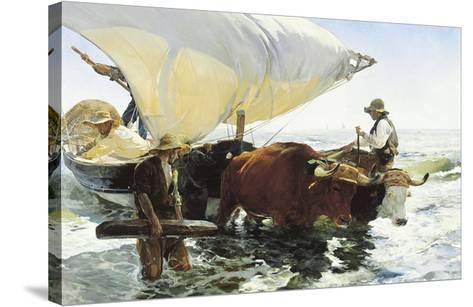 Retorno de la Pesca, Remolcando la Barca-Joaqu?n Sorolla y Bastida-Stretched Canvas Print
