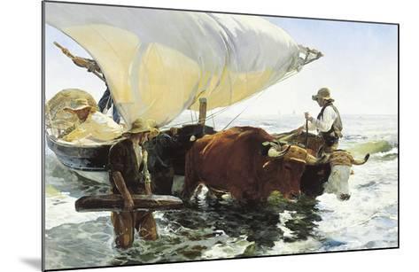 Retorno de la Pesca, Remolcando la Barca-Joaqu?n Sorolla y Bastida-Mounted Art Print