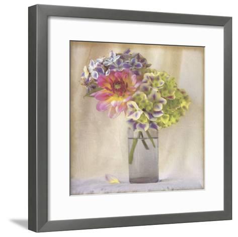 Dahlia with Hydrangeas II-Sally Wetherby-Framed Art Print