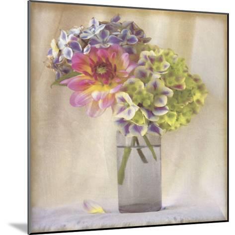 Dahlia with Hydrangeas II-Sally Wetherby-Mounted Art Print