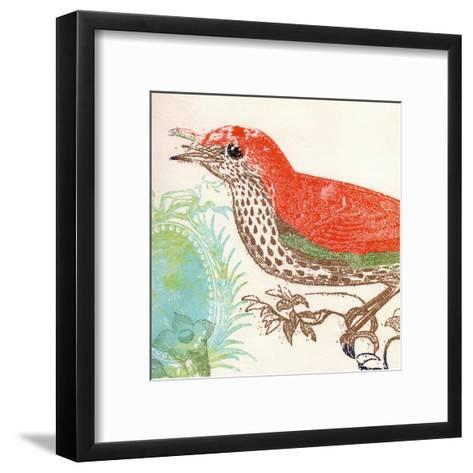 Red Bird-Swan Papel-Framed Art Print
