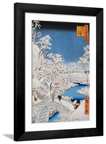 "Drum Bridge at Meguro, from the Series ""100 Views of Edo""-Ando Hiroshige-Framed Art Print"