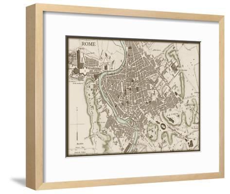 Sepia Map of Rome--Framed Art Print