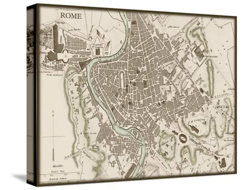 Sepia Map of Rome--Stretched Canvas Print