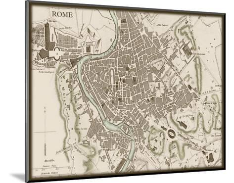 Sepia Map of Rome--Mounted Art Print