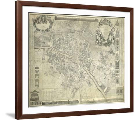 Nouveau Plan De Paris 1728-J^ Delagrive-Framed Art Print