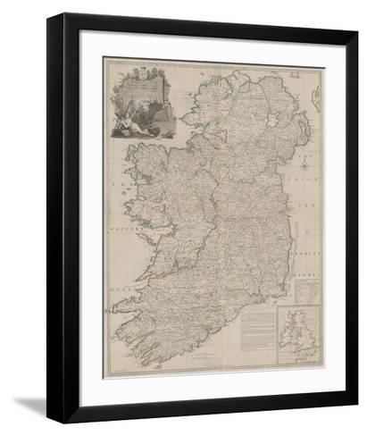 A Map of the Kingdom of Ireland, Divided into Provinces-John Rocque-Framed Art Print