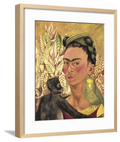 Self-Portrait with Monkey and Parrot, c.1942-Frida Kahlo-Framed Art Print