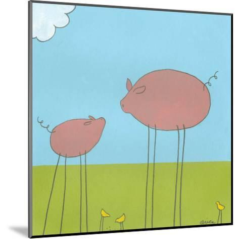Stick-Leg Pig II-Erica J^ Vess-Mounted Art Print