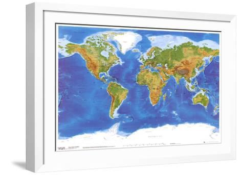 Satellite Physical Map of The World--Framed Art Print