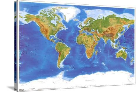 Satellite Physical Map of The World--Stretched Canvas Print